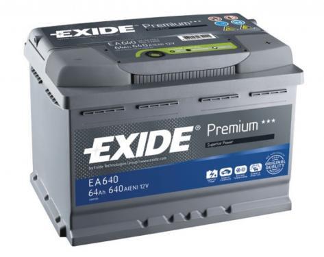 Exide Premium 64Ah 640A autó akkumulátor