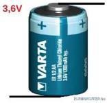 """Varta lithium (Li-SOCl2) ipari elem LS14250  """"U"""" forrfüllel 1/2 AA"""