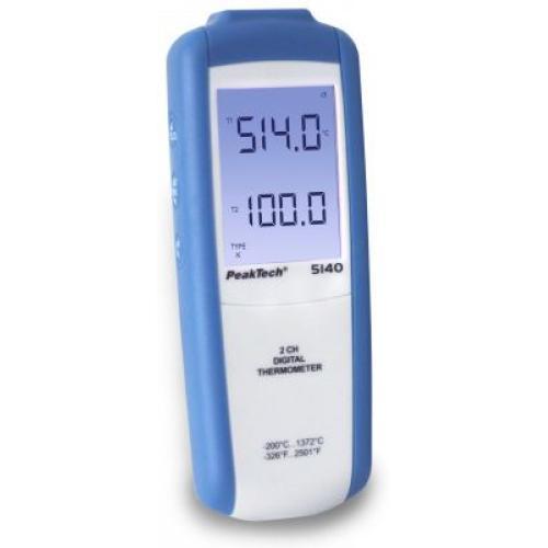 Digitális hőmérő 2 csatornás -200°C...+1372°C P 5140