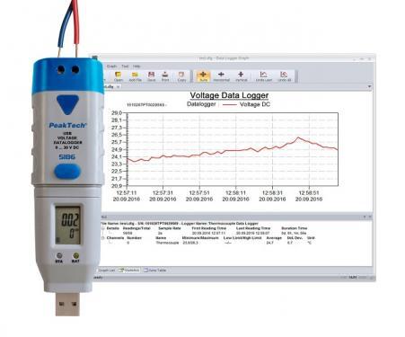 DC feszültség detektor USB adatrögzítővel