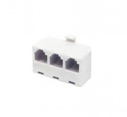 Elosztó telefonvezetékhez, 6P4C, 1 dugó-2 aljzat vagy 3 aljzat