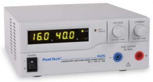 Labortápegység 0-16 V, 0-40 A Peaktech P 1525