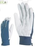 Színkecskebőr 858-60-as, kék pamut kézhát, elasztikus csuklórész tépőz