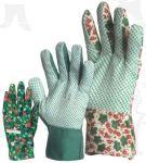 Zöld vászon kertészkesztyű  pettyezett tenyérrel, férfi méret  4145-