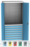 SPD 11E műhelyszekrény, 1 polc, 8 fiók, perforáció hátfalon, ajtókon