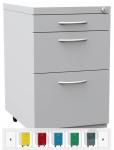 K2404 3 fiókos görgős konténer eltérő fiókokkal, függőmappához is
