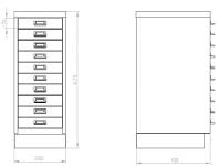 KSZ 410 B fiókos fémszekrény 10 db A4 méretű fiókkal