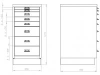 KSZ 38 B fiókos fémszekrény 8 db A3 méretű fiókkal