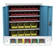 SPP 02 C alkatrésztároló szekrény 4 polccal, 26 db box-szal