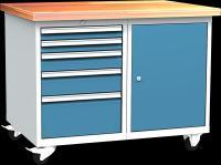 DPL_01_C műhelykocsi (1x polcos szekrény, 5x fiók)