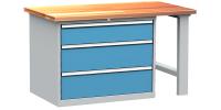 DPS_111 lapraszerelt munkapad fiókos szekrénnyel (1500 mm, 3 fiók)