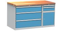DPS_112 lapraszerelt munkapad fiókos és polcos szekrénnyel (1500 mm)