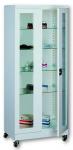 Sml 102 görgős, üvegajtós orvosi szekrény/műszerszekrény (80 cm, 2 ajtós, 4 üvegpolc)