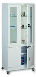 Sml 104 görgős, üvegajtós orvosi szekrény/műszerszekrény (80 cm, 2x2 ajtós, 2+1 üvegpolc)