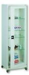 Sml 111 görgős, üvegajtós orvosi szekrény/műszerszekrény (60 cm, 1 ajtós, 4 üvegpolc)
