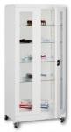Sml 113 görgős, üvegajtós orvosi szekrény/műszerszekrény (100 cm, 2 ajtós, 4 üvegpolc)