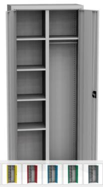 KSPS 02 P kétajtós irodai gardrób szekrény, 5 fix polc, akasztók
