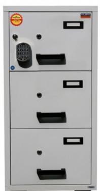 FC 3E-KK tűzálló függőmappa tároló szekrény (3 fiók, 60 perc, el. központi zár+kulcsok)