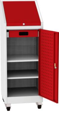 NAR_02K_B szerszámtároló szekrény, 2 db polc, 1 fiók, írófelület