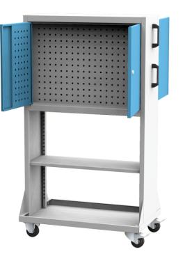 PPV_04_A mobil PERFO szerszámtartó fal polccal, koffer tartóval (zárható, kétoldalas)