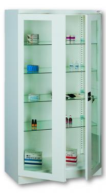 Sml 103 üvegajtós orvosi szekrény/műszerszekrény (100 cm, 2 ajtós, 4 üvegpolc)