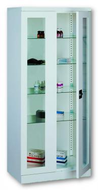 Sml 112 üvegajtós orvosi szekrény/műszerszekrény (80 cm, 2 ajtós, 4 üvegpolc)
