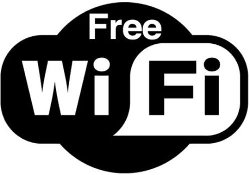 """Free WiFi"" feliratos öntapadó matrica 97 x 69 mm"