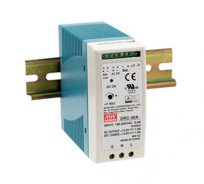 DRC-40 40 Watt tápegység + akku töltő, DIN