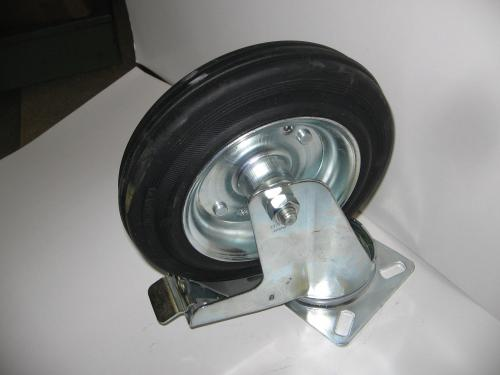 Forgófékes kerék  200 mm fekete gumis