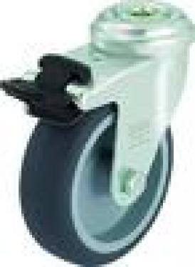 Kerék  szürke gumis hátfuratos forgófékes  75 mm