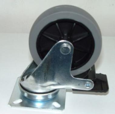 Forgófékes talpas kerék szürkegumis  75 mm