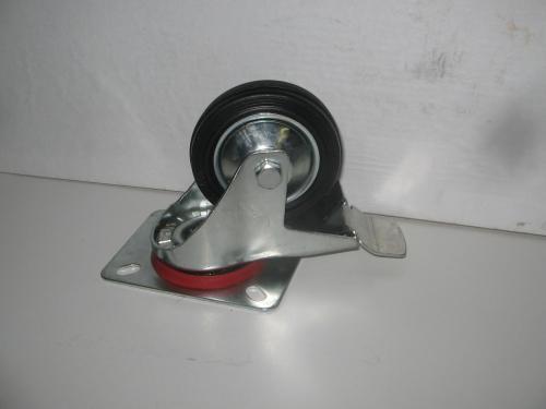 Forgó fékes kerék  fekete gumis 80 mm