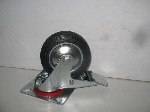 Forgófékes kerék  fekete gumis 100 mm