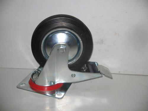 Forgófékes kerék  fekete gumis 160 mm