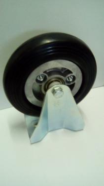Fix álló kerék  fekete gumis golyóscsapágyas  200 mm