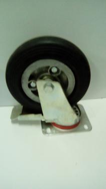 Forgófékes kerék  fekete gumis golyóscsapágyas talpas  200 mm