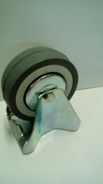 Kerék szürke gumis golyóscsapágyas fix álló  100 mm
