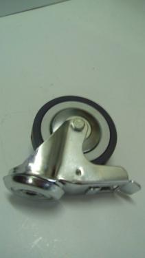 Kerék szürke gumis hátfuratos forgófékes   100 mm