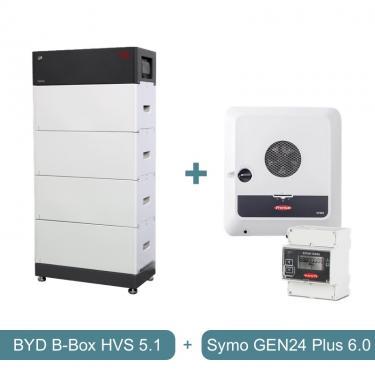 6 kW-os Fronius hibrid üzemű napelemes rendszer, 5,1 kWh BYD HVS akkumulátor kapacitással