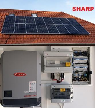 SHARP-SH-3kW-1PH, 10 000Ft/hó villanyszámlára, 3kw-os, 1 fázisú Sharp  napelem csomag
