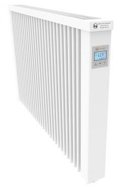 THERMOTEC-Compact1300 W,  samott betétes elektromos hőtárolós radiátor, 68cm széles, 61cm magas, 30kg, digitális termosz