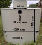 2.1. <> 2 m3-es PE.  műanyag esővíz tartály, lépésálló tetővel