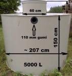 5.1. <> 5 m3-es PE.  műanyag esővíz gyűjtő tartály + lépésálló tető