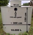 7.6. <> 10 m3-es PE. műanyag esővíz gyűjtő tartály, lépésálló tetővel