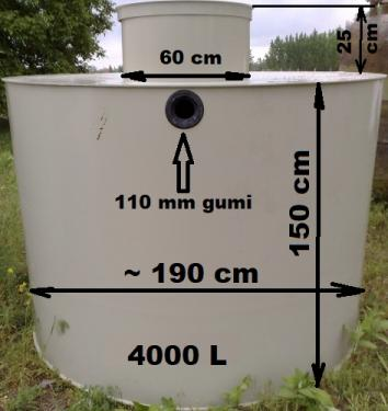 1.2..- PE - 4 m3-es műanyag tűzi-víz tartály. lépésálló tetővel