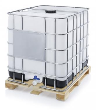 1.2. <> ÚJ, IBC, 1000 L-es ÉLELMISZERES tartály/konténer, fa raklapon, élelmiszeres tanusítvánnyal;