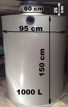 1.3. <>  1 m3-es  PP./PE. műanyag esővíz tartály, lépésálló tetővel