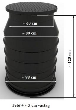1.5 - DN 800 S szennyvíz átemelő akna, lépésálló tetővel