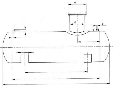 1. 5 m3-es fekvő henger, műanyag PP. tartály