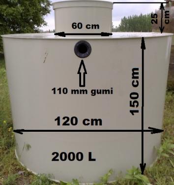 2.1.. <> 2 m3-es PE. műanyag szennyvíz tartály, lépésálló tetővel